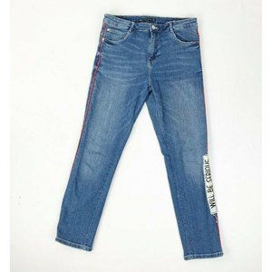 Zara Jeans 6 Stretch Blue Patches Pants Trousers